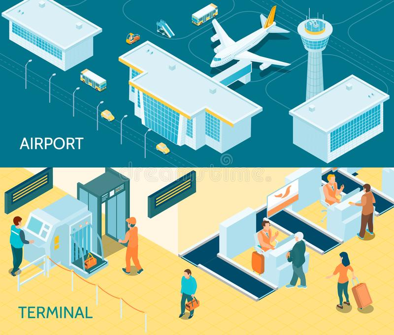 Airport Isometric Banners royalty free illustration