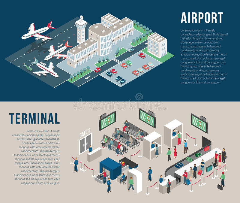 Airport Isometric Horizontal Banners vector illustration