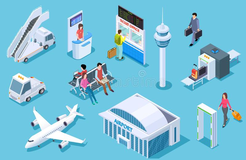 Airport isometric. Passenger luggage, airport terminal. Tower plane passport checkpoint. Business airline travel stock illustration