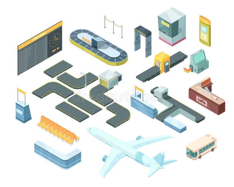 Airport Isometric Set stock illustration