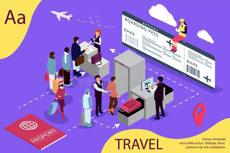 Airport isometric travel concept with reception and passport check desk, waiting hall, control. Illustration for web page, banner,. Social media, documents vector illustration