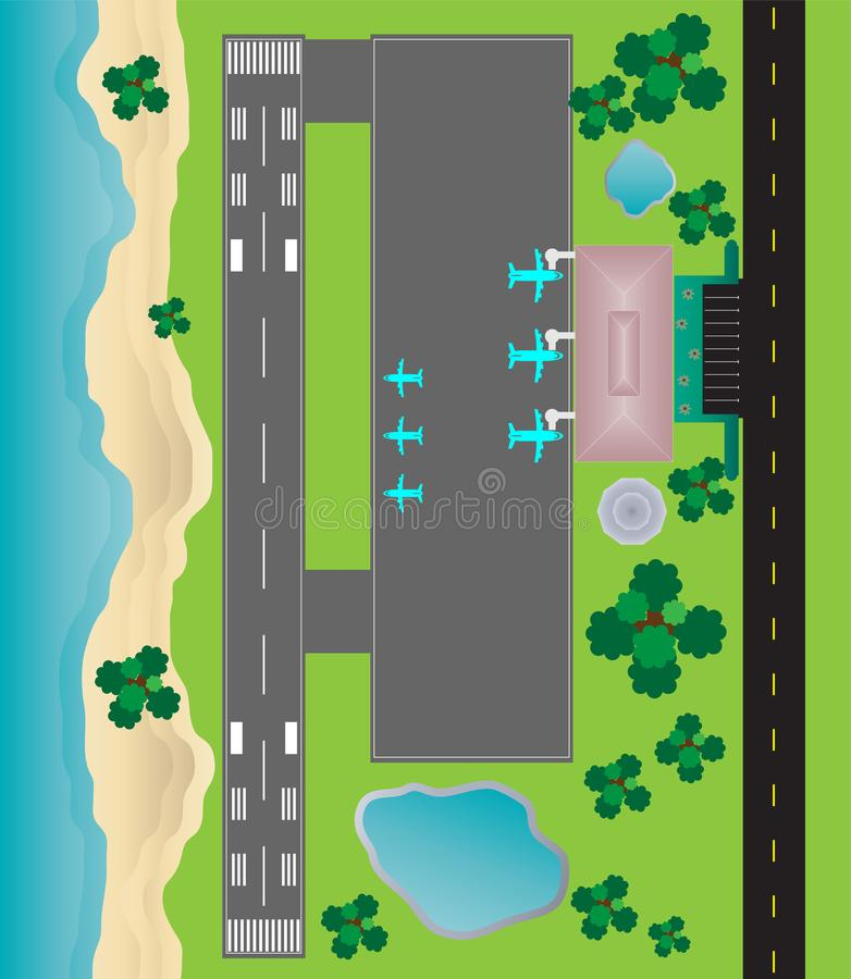 Airport Layout top View , runway parking taxiway and Building De. Airport Layout top View runway parking taxiway and Building Detail with Seascape royalty free illustration