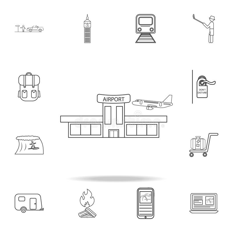 Airport line icon. Set of Tourism and Leisure icons. Signs, outline furniture collection, simple thin line icons for websites, web royalty free illustration