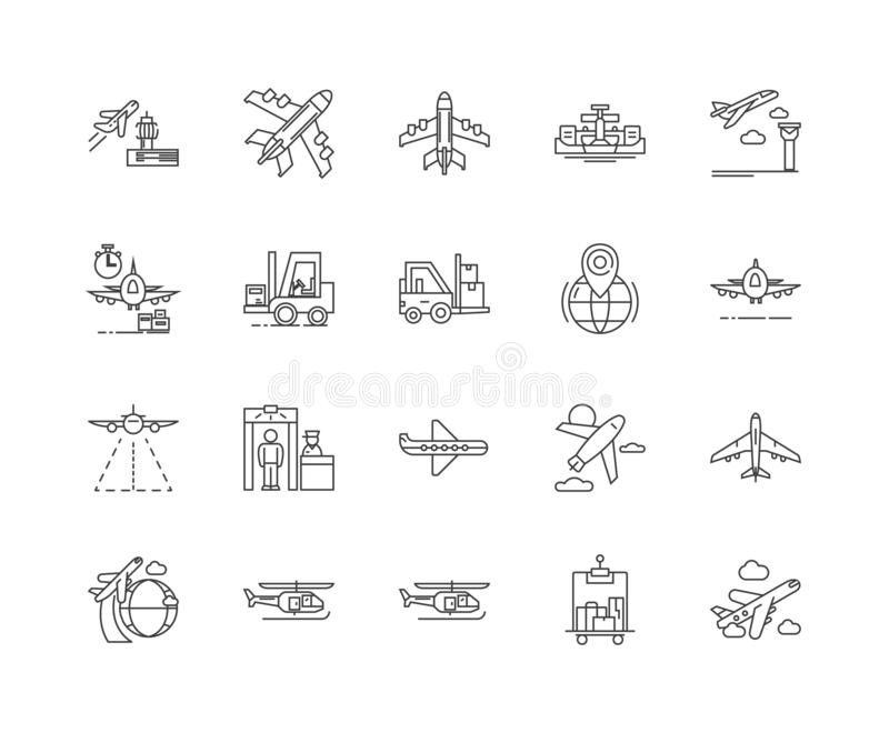 Airport line icons, signs, vector set, outline illustration concept vector illustration