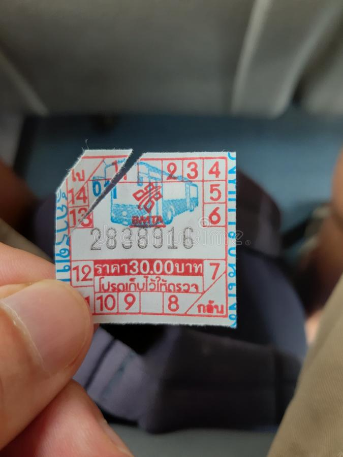 Airport link bus ticket, Don Mueng, Bangkok, Thailand royalty free stock photos