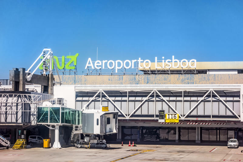 Airport Lisbon after landing - window view of tower / main gate. Lisbon, Portugal - May 30, 2013: At the airport of lisbon (Aeroporto Lisboa) after landing. Main stock images