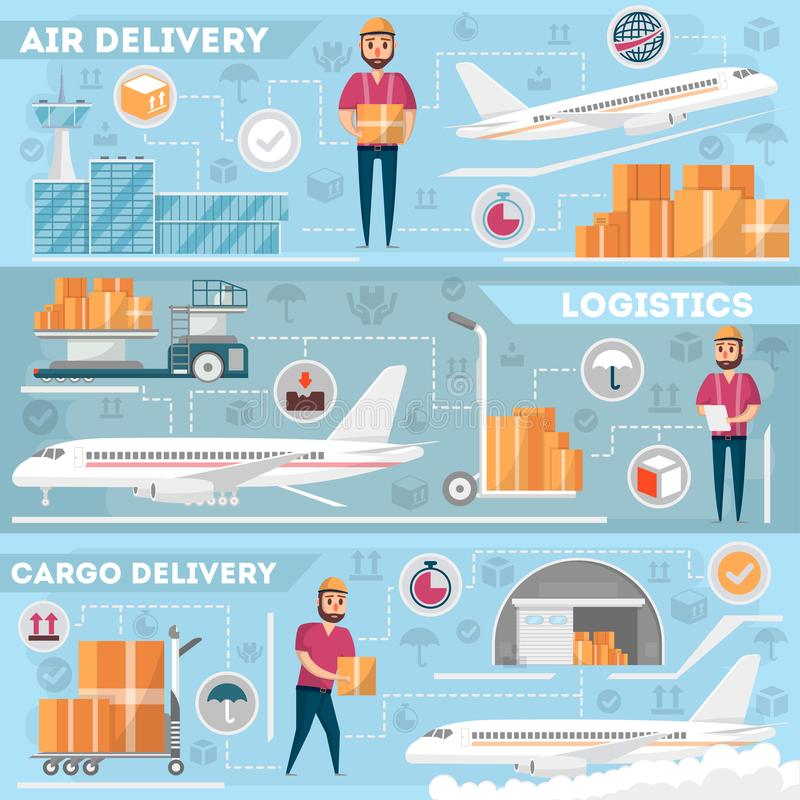 Airport logistics and delivery management set. Commercial worldwide shipping, freight transportation, global air postal. Cargo plane, airline terminal stock illustration