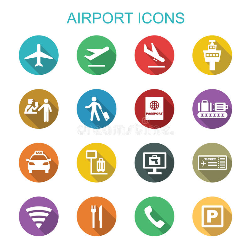 Airport long shadow icons royalty free illustration