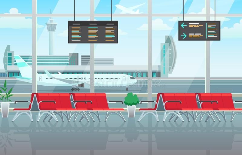 Airport lounge interior, waiting hall with red chairs, information panels. With timetable, big windows, vector illustration flat style royalty free illustration