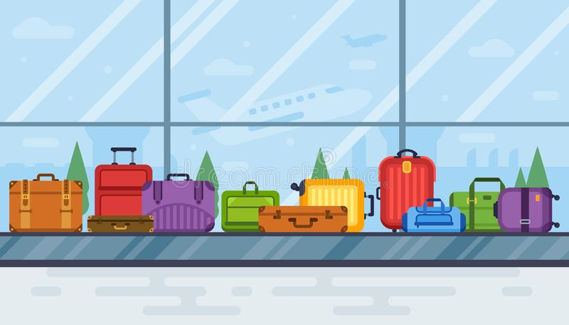 Airport luggage carousel. Baggage scan belt carousels conveyor in airports interior, airline transportation vector stock illustration
