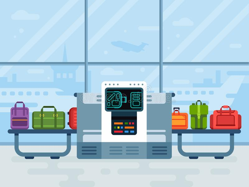 Airport luggage scanner. Police secure belt scanners scan airline passengers baggage, passenger checkpoint vector vector illustration