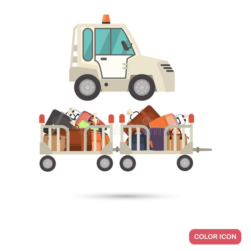 Airport luggage tractor color flat icon. For web and mobile royalty free illustration