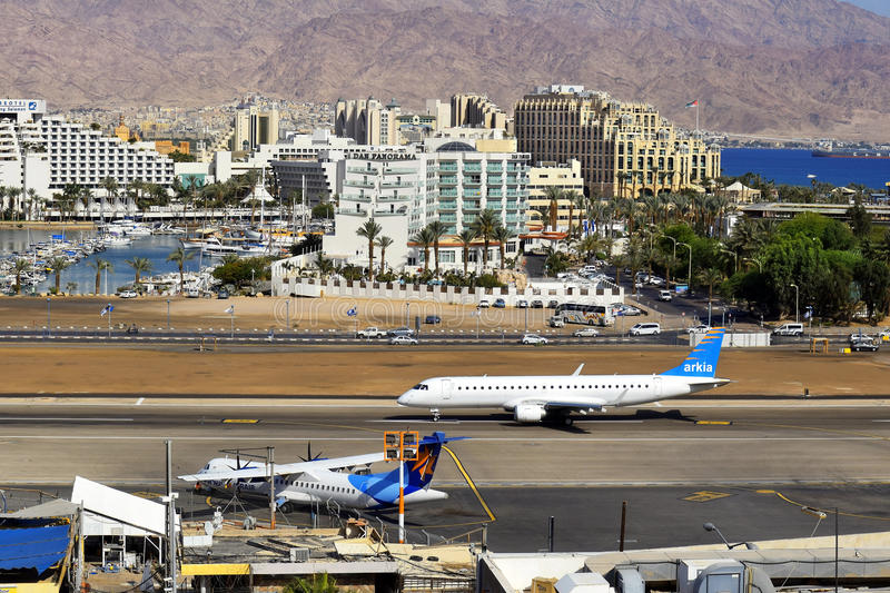 Airport and luxurious hotels in Eilat, Israel stock image