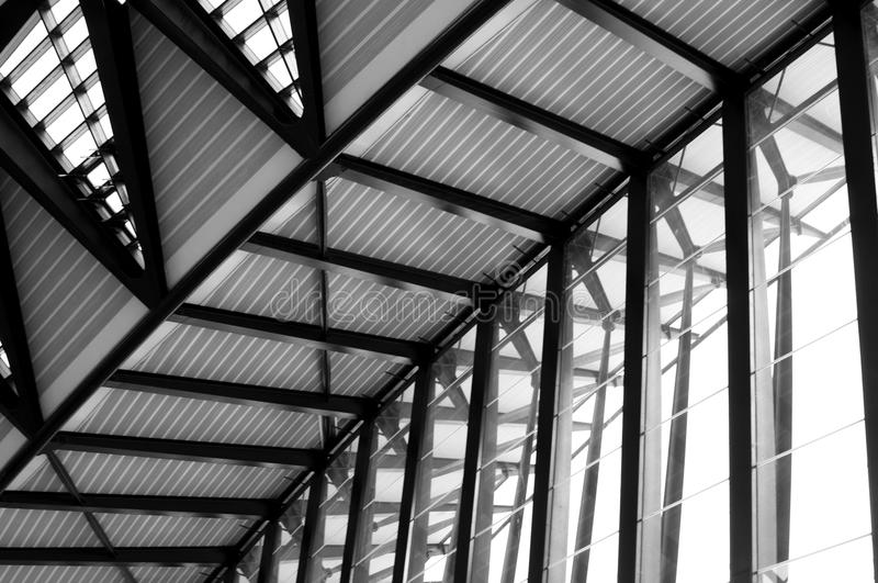 Airport Lyon. Modern Architecture: Long Passage Way at Train Station at Saint-Exupery Airport, Lyon, France. Photo taken: 20th April 2015 royalty free stock photos