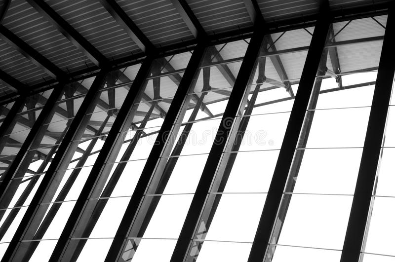 Airport Lyon. Modern Architecture: Long Passage Way at Train Station at Saint-Exupery Airport, Lyon, France. Photo taken: 20th April 2015 royalty free stock images