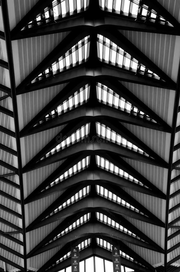 Airport Lyon. Modern Architecture: Long Passage Way at Train Station at Saint-Exupery Airport, Lyon, France. Photo taken: 20th April 2015 stock photos
