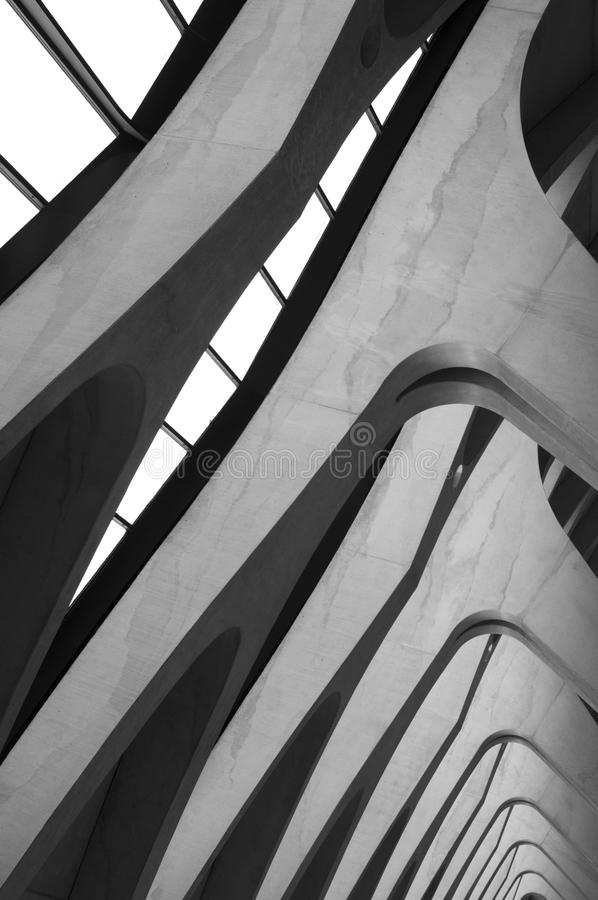 Airport Lyon. Modern Architecture: Long Passage Way at Train Station at Saint-Exupery Airport, Lyon, France. Photo taken: 20th April 2015 royalty free stock photo