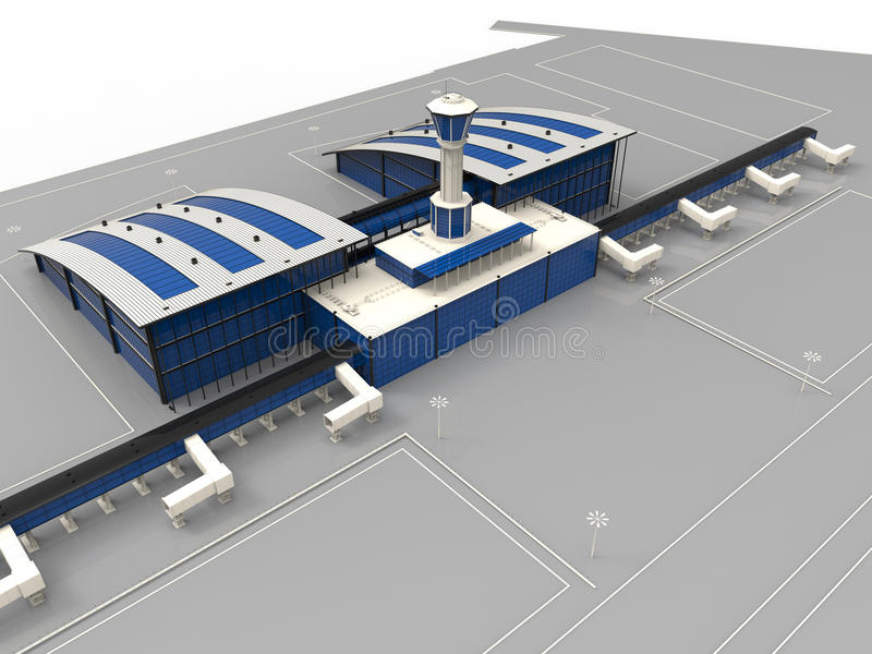 Airport main terminal. 3D render illustration of an airport main terminal building. The building is textured in white and has blue windows. The composition is on vector illustration