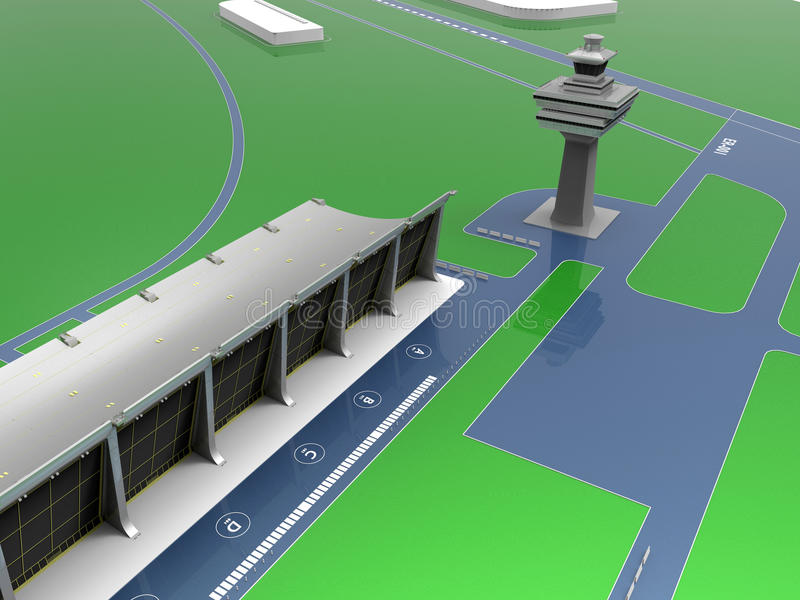 Airport main terminal illustration. 3D render illustration of an airport main terminal stock illustration