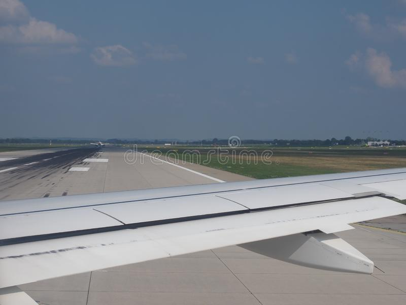 Airport in Muenchen. MUENCHEN, GERMANY - CIRCA AUGUST 2019: Muenchen Flughafen airport runway stock photo