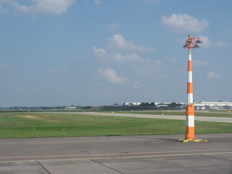 Airport in Muenchen. MUENCHEN, GERMANY - CIRCA AUGUST 2019: Muenchen Flughafen airport runway royalty free stock photo