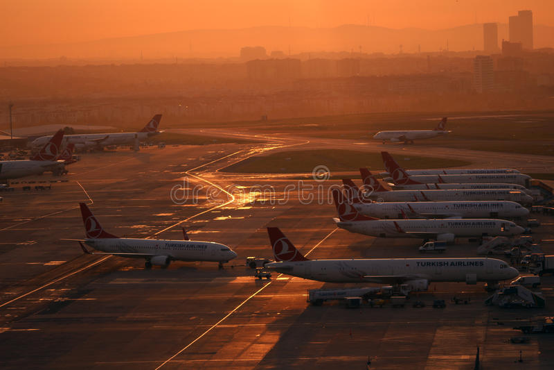 Airport operations in Istanbul Atatürk Airport stock image