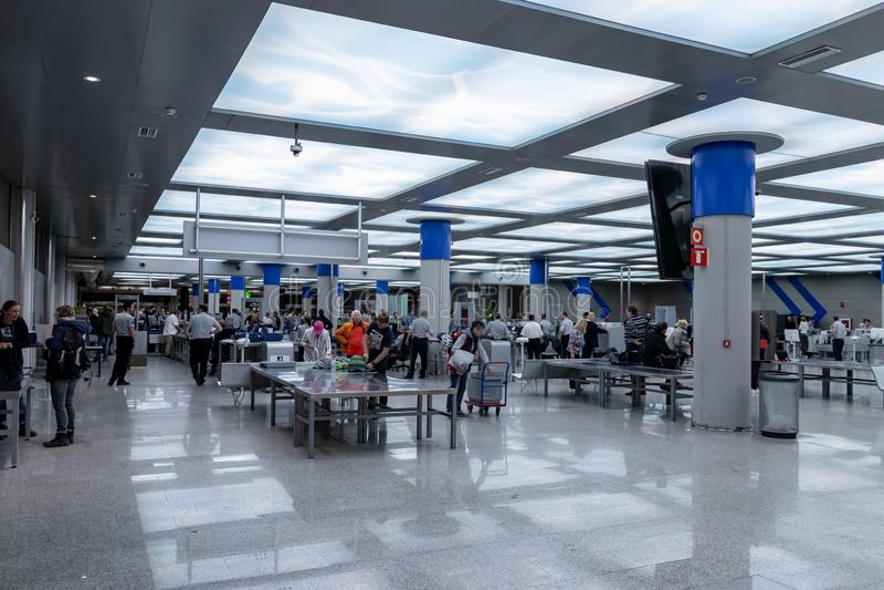 Airport, palma, mallorca, spain, 2019 april 14: security check at the airport of palma, mallorca stock photo