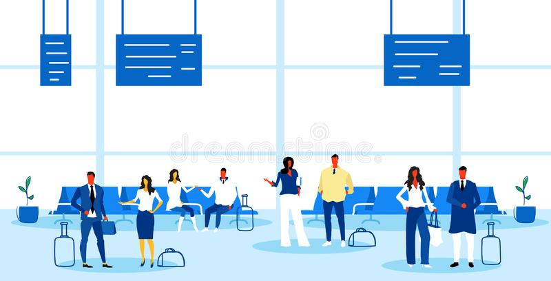Airport passengers at waiting hall departure lounge interior business people travelers standing with baggage holiday. Vacation concept sketch doodle horizontal royalty free illustration