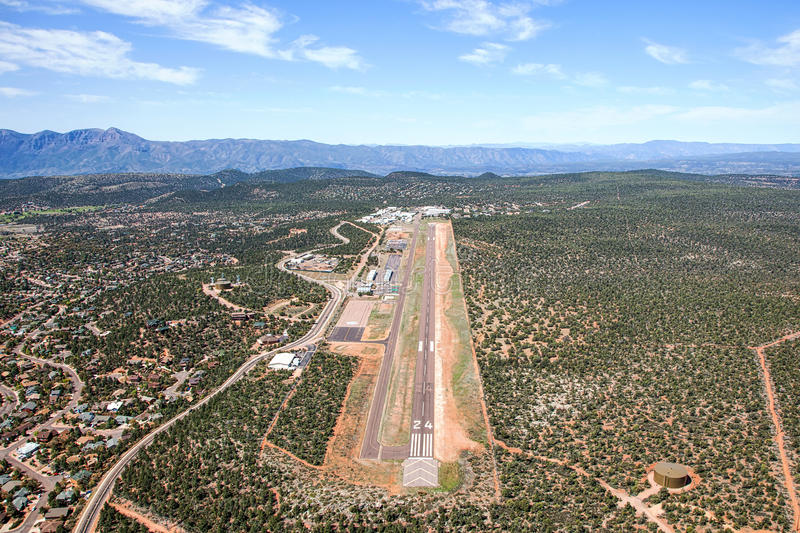 Airport in Payson, Arizona. Aerial view of the Payson, Arizona airport looking to the west stock image