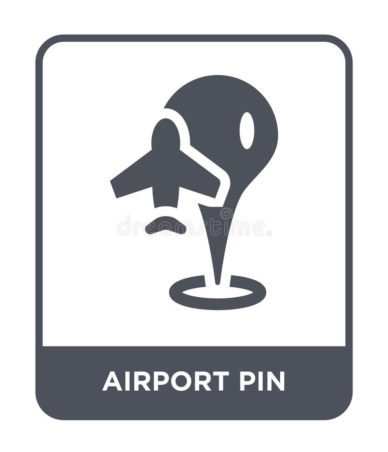 airport pin icon in trendy design style. airport pin icon isolated on white background. airport pin vector icon simple and modern royalty free illustration