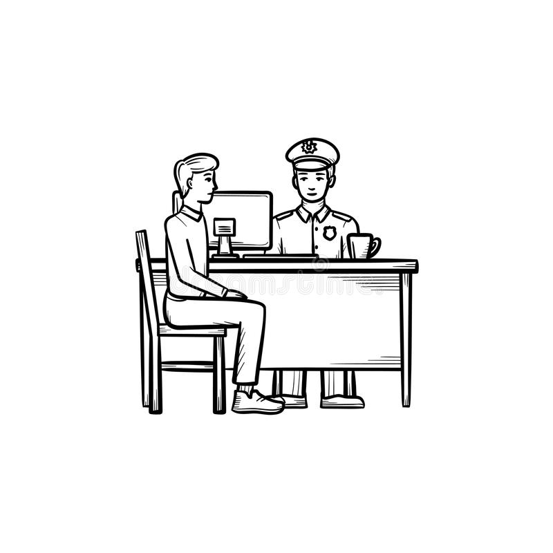 Airport police hand drawn outline doodle icon. Customs officer in uniform as authority, power and check concept. Vector sketch illustration for print, web vector illustration