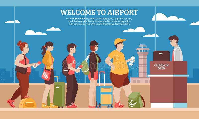 Airport Queue Illustration. Airport queue with people room and registry service flat vector illustration vector illustration