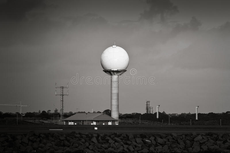 Airport Radar Tower In Black And White Royalty Free Stock Images