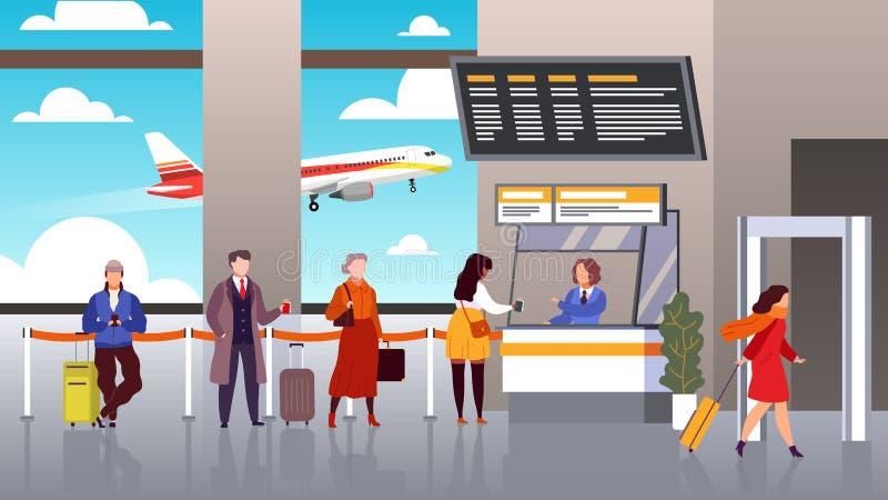 Airport registration. People queue departure passengers in line baggage register flight check terminal tourism travel vector illustration