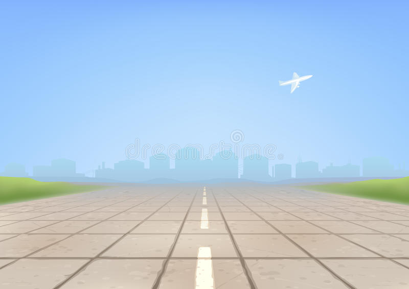 Airport runway. Empty concrete airport runway in the foreground and an airplane taking off in the background (other landscapes are in my gallery stock illustration