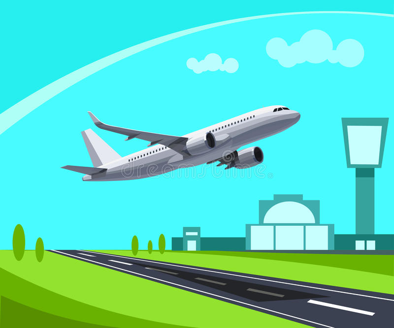 Airport with Runway and flying Plane Concept Illustration. Template for Infographic. Eps 10 royalty free illustration