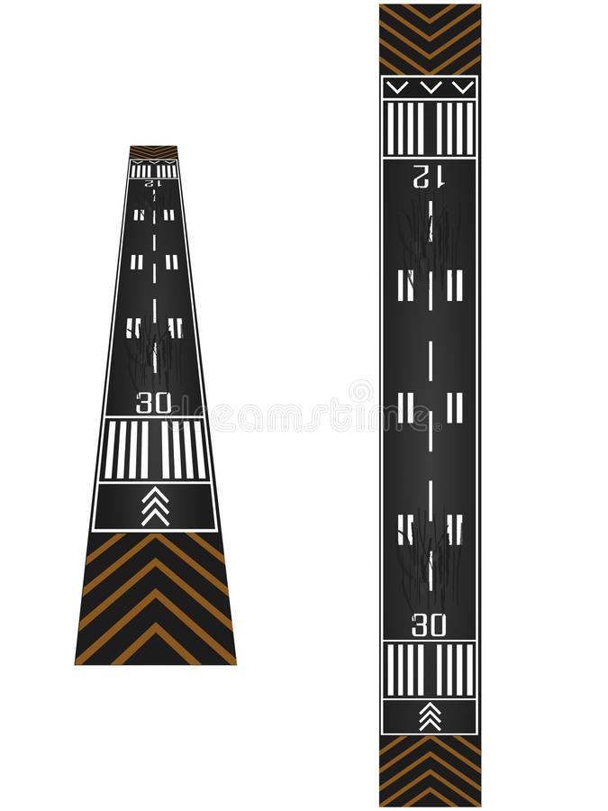 Airport runway. Normal and perspective view royalty free illustration