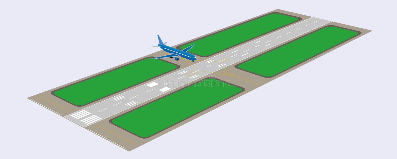 Airport runway. Perspective view. Vector illustration. Eps 10 royalty free illustration