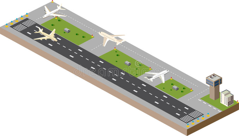 Airport runway. Picture with the image planes and airport runway stock illustration