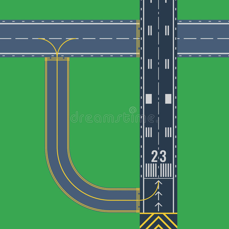 Airport runway for taking off and landing aircrafts stock illustration