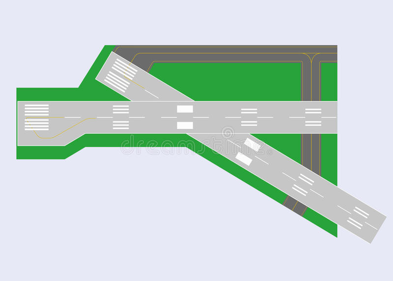 Airport runway. Top view. Vector illustration. Eps 10 royalty free illustration