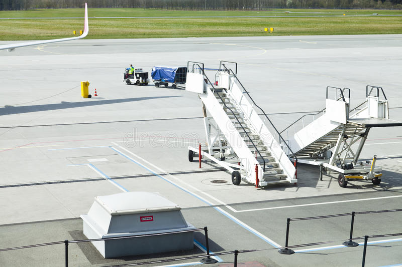 Airport runway and transport services royalty free stock photography