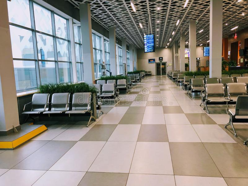 Airport Russia, waiting room without people.  Boarding.  Row royalty free stock image