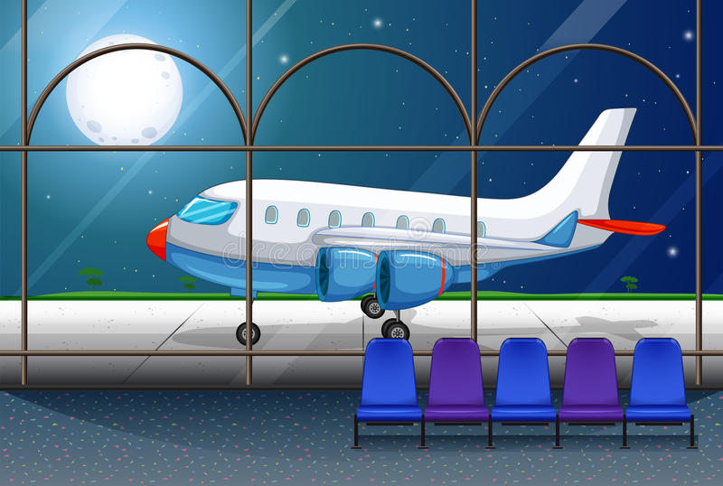 Airport scene with airplane parking at night royalty free illustration