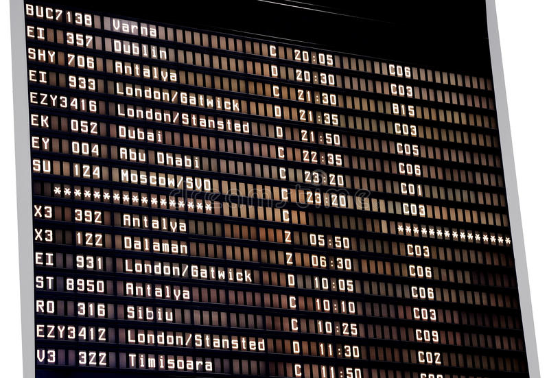 Airport schedule stock photography