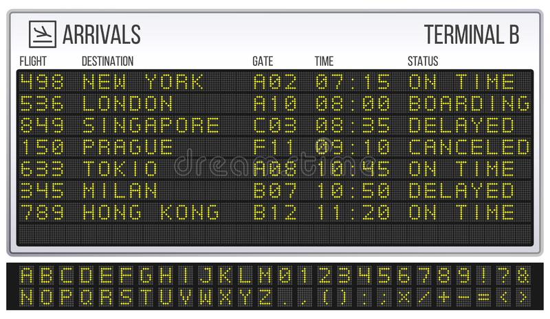 Airport scoreboard. Digital LED board font, arrivals and departures signs realistic vector illustration. Airport scoreboard. Digital LED board font, arrivals and vector illustration