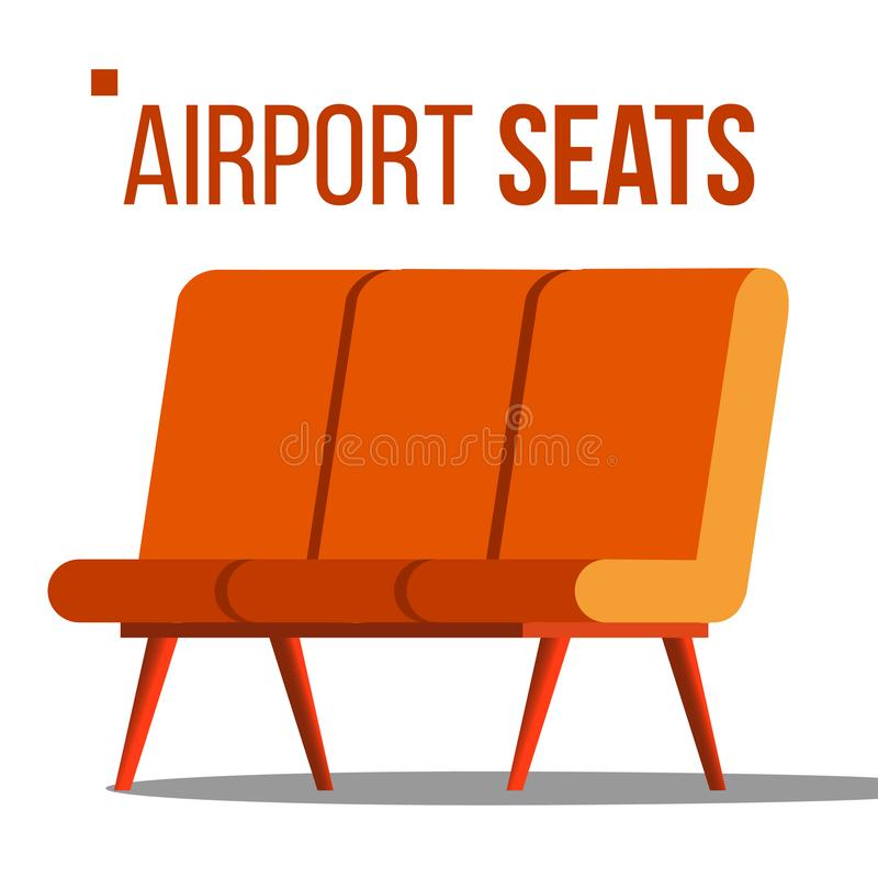 Airport Seats Vector. Hall Departure. Public Terminal Concept. Waiting Area. Isolated Flat Cartoon Illustration. Airport Seats Vector. Hall Departure. Public vector illustration