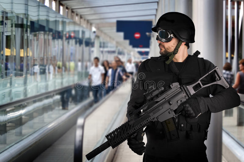 Download Airport Security, Armed Police Stock Photo - Image: 17404896