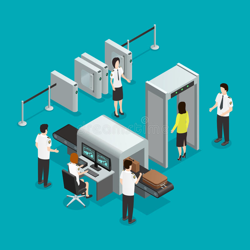 Airport Security Check Isometric Composition Poster royalty free illustration