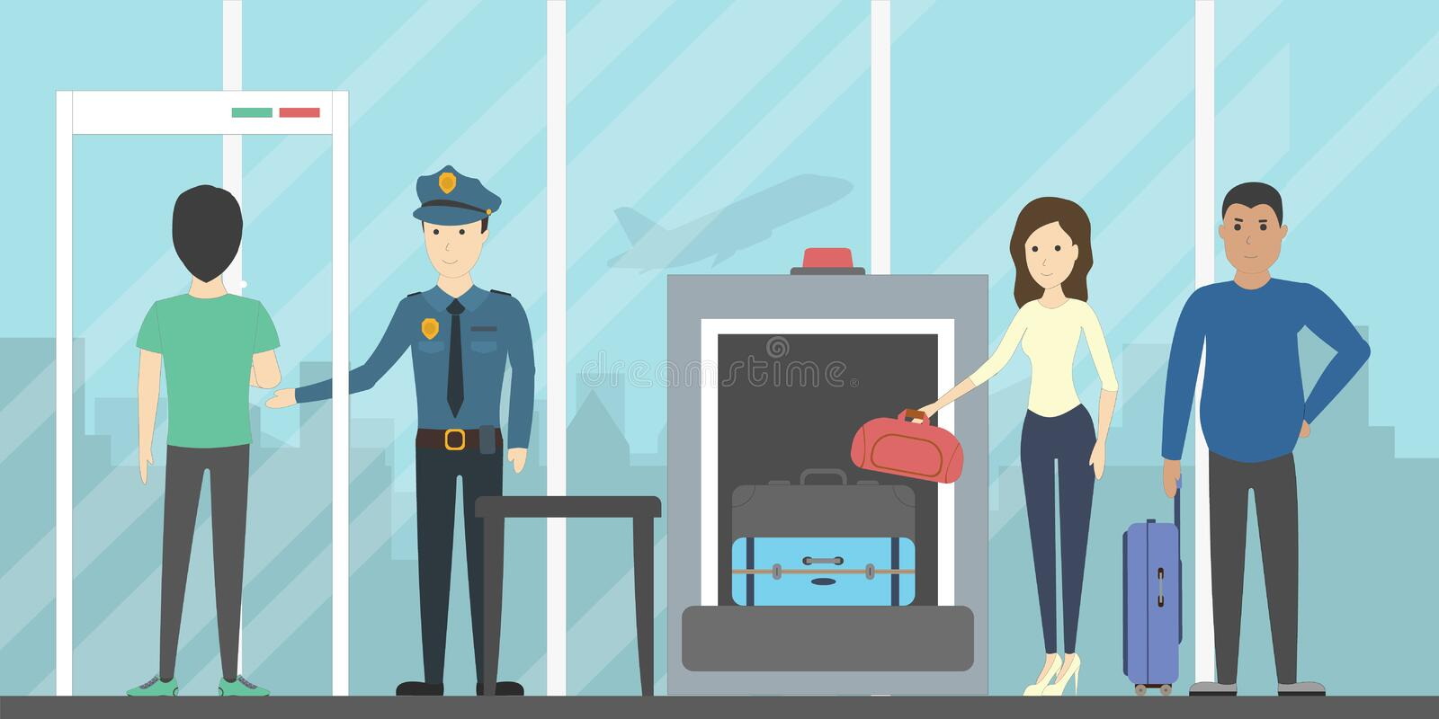 Airport security check. vector illustration